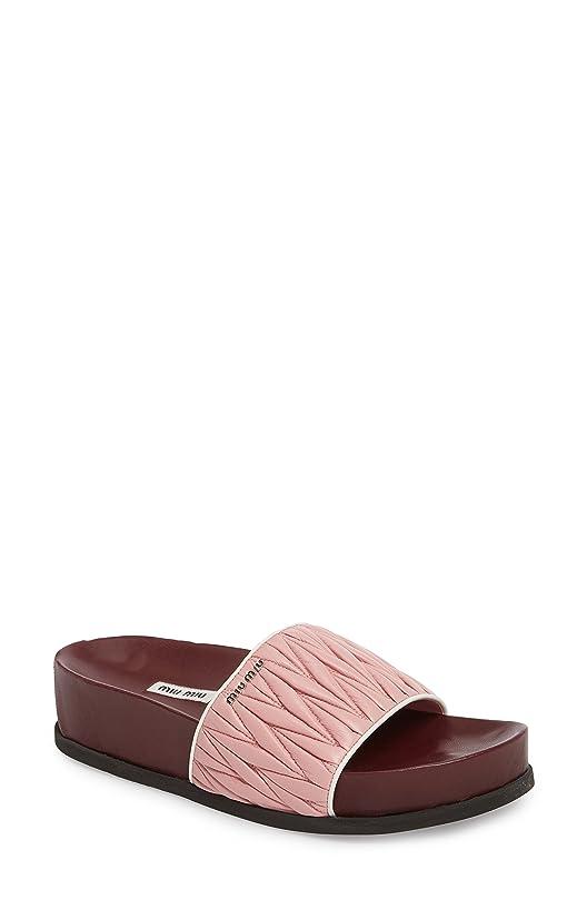 階テキスト多年生ミュウミュウ レディース サンダル Miu Miu Matelass Slide Sandal (Women) [並行輸入品]