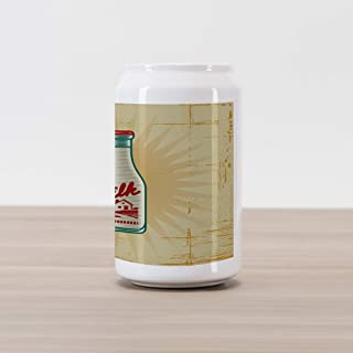 Ambesonne Farmhouse Cola Can Shape Piggy Bank, Retro Style Milk Bottle Illustration on Weathered Grungy Background Dairy Product, Ceramic Cola Shaped Coin Box Money Bank for Cash Saving, Multicolor