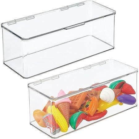 mDesign bac rangement jouet (lot de 2) – grande boîte de rangement plastique robuste pour la chambre d'enfants – boîte avec couvercle empilable pour ustensiles de bricolage, jouets, etc. – transparent