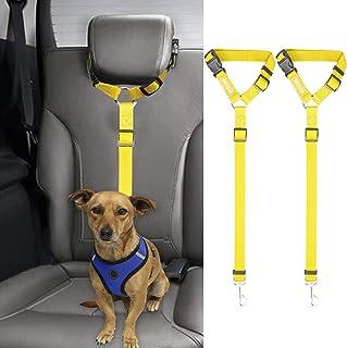 BWOGUE 2 Packs Dog Cat Safety Seat Belt Strap Car Headrest Restraint Adjustable Nylon Fabric Dog Restraints Vehicle Seatbe...