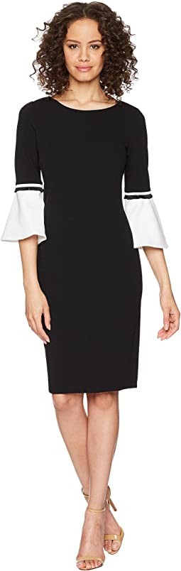 Calvin Klein Color Block Cuff Bell Sleeve Dress CD8C14LQ