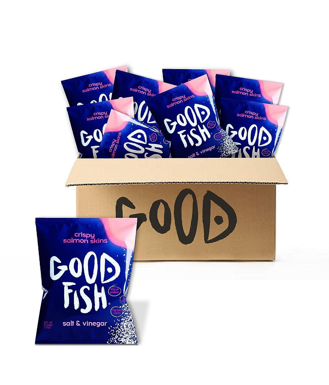 GOODFISH Crispy Salmon Skin Chips - Salt  Vinegar (Pack of 8)