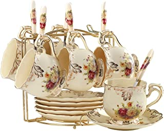 YOLIFE Flowering Shrubs Tea Cups and Saucers Set,Ivory Ceramic Tea Cups Set,Pack of 6 with Golden Metal Rack