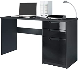 Vladon Bureau Table Informatique Logan, Corps en Noir Mat/Façades en Noir Haute Brillance