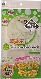 新北九州工業 換気 フィルター 抗菌 消臭 ハウスダスト 花粉 給気口 PM2.5 日本製 貼るだけ ペタッとキャッチ 無地 3枚入 直径21cm E317-3W
