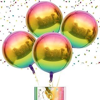 """Rainbow Ombre Balloons 4pcs Hangable 4D Foil Balloon Round Sphere Aluminum Mylar Balloon 16"""" Large Metallic Globos Balloon..."""