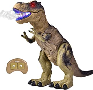 FUN LITTLE TOYS Remote Control Dinosaur for Kids, Electronic Walking & Spray Mist Large Dinosaur Toys with Glowing Eyes, Roaring Dinosaur Sound, 18.5
