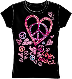 Peace Love Hearts Fitted Girls Tee Shirt