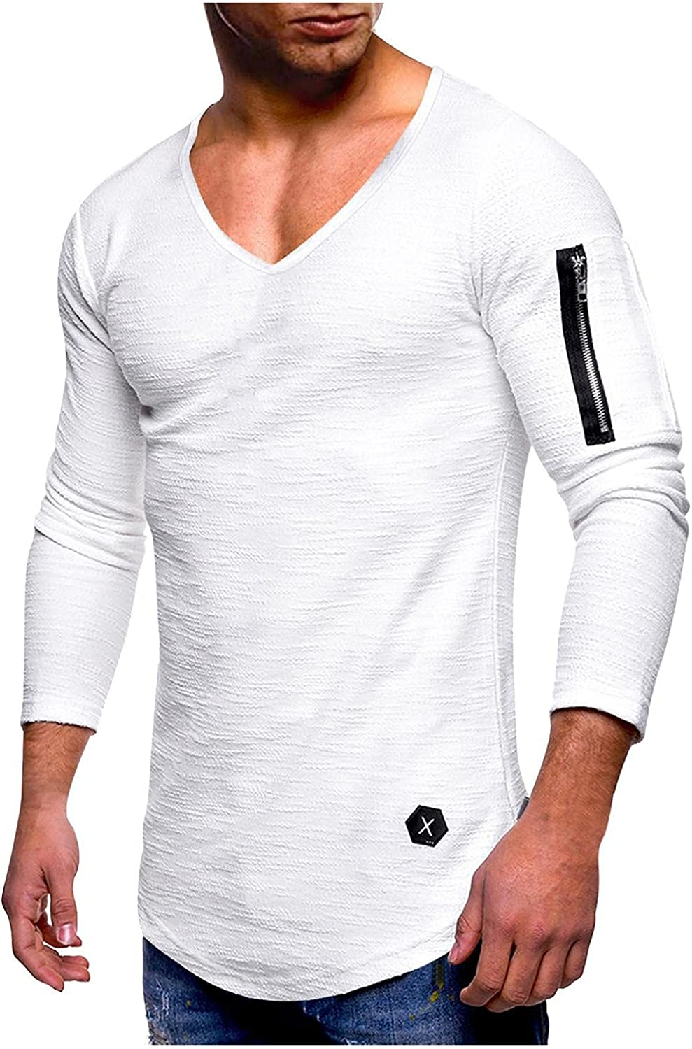 Long Sleeve Tee Shirts for Men Casual Muscle T-Shirts V-neck Athletic Sweatshirt Zipper Workout Gym Pullover Tops