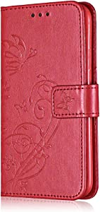 Book Style Case for Apple iPhone  6S  Bear Village  Galaxy 2018 Leather Flip Case with Card Slot  TPU Shockproof Interior  Flip Slim Wallet Case   6 Red