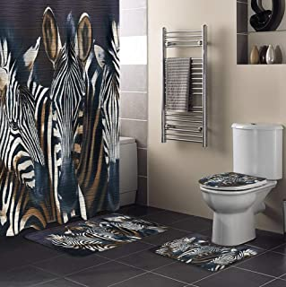 Singingin Shower Curtain Set with Bathroom Rugs and Mats Three Zebras Bathroom Rugs Set 4 Piece,Non-Slip Rugs,Toilet Lid C...
