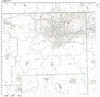 St Joseph County, Indiana IN ZIP Code Map Not Laminated