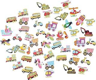 Amosfun 50 peças Botões de madeira Formato de transporte 2 furos Botões decorativos para scrapbook artesanal (cor mista)