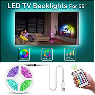 Bason TV Backlight, 11.29ft USB Led Lights Strip for TV/Monitor Backlight, Led Strip Light with Remote, TV Bias Lighting for Room Home Movie Decor.(55-58inch)
