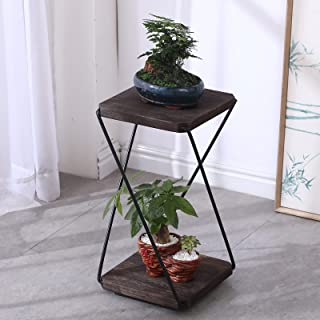 2 Tiers Plant Stand for Indoor Plants,Tall Modern Potted Plant Holder, Black Metal Shelf 2 Wood Square Tray,Detachable Flo...