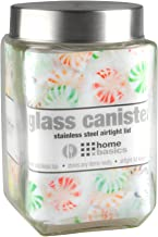 Home Basics Large 56 oz. Square Glass Canister Jar Container Fresh Sealed with Air-Tight Stainless-Steel Twist Top Lid for Kitchen Pantry Food Storage Organization, Clear