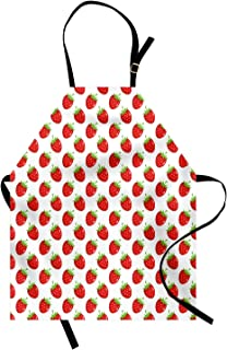 Lunarable Strawberry Apron, Fruit Theme Pattern Cartoon Styled Food on Plain Backdrop Illustration, Unisex Kitchen Bib with Adjustable Neck for Cooking Gardening, Adult Size, Fern Green