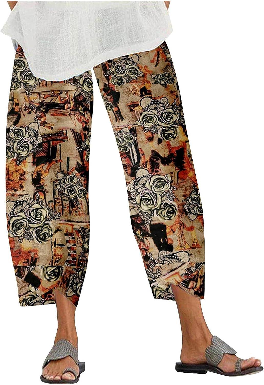 BEUU Women's Capri Pants Loose Cropped Wide Leg Pants Dandelion Comfy Elastic Waist Lightweight Trousers with Pockets