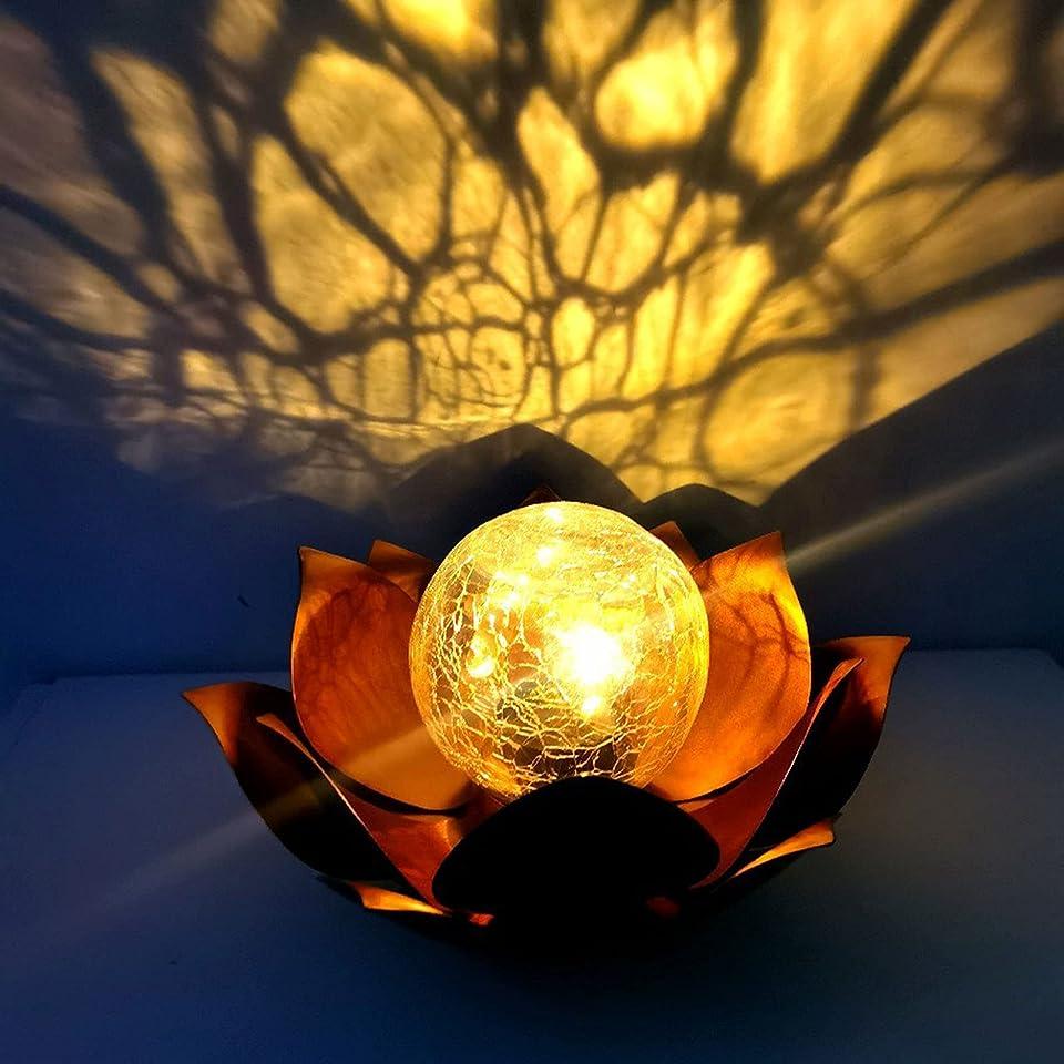 Outdoor Garten Lotus Solarleuchten, Outdoor Garten Rasen Dekoration Lampe, wasserdichte Metallblume LED-Licht, Crackle Globe Glas Lotus Beleuchtung für Rasen, Gehweg, Tischplatte, Boden, Terrasse