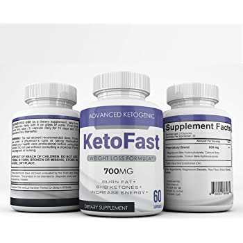 Keto Fast - Advanced Ketogenic Weight Loss Formula - 700MG - Burn Fat - BHB Ketones - Increase Energy - 60 Capsules - 3 Month Supply