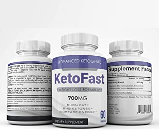 Keto Fast - Advanced Ketogenic Weight Loss Formula - 700MG - Burn Fat - BHB Ketones - Increase Energy - 60 Capsules - 3 Month Supply