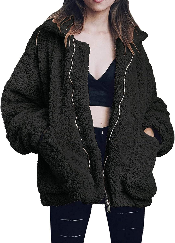 Women's Winter Lapel Faux Shearling Fleece Fuzzy Jackets Long SLeeve Zip Up Oversized Warm Outwear