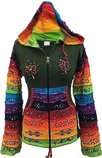 Shopoholic Fashion Women Rainbow Sleeved Flower Patch Hoodie