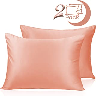 Adubor Satin Pillowcase 2 Pack Silky Pillow Cases for Hair and Skin, Hypoallergenic Anti-Wrinkle, Super Soft and Luxury Pillow Cases Covers with Envelope Closure (Coral Pink, 20''x26'')