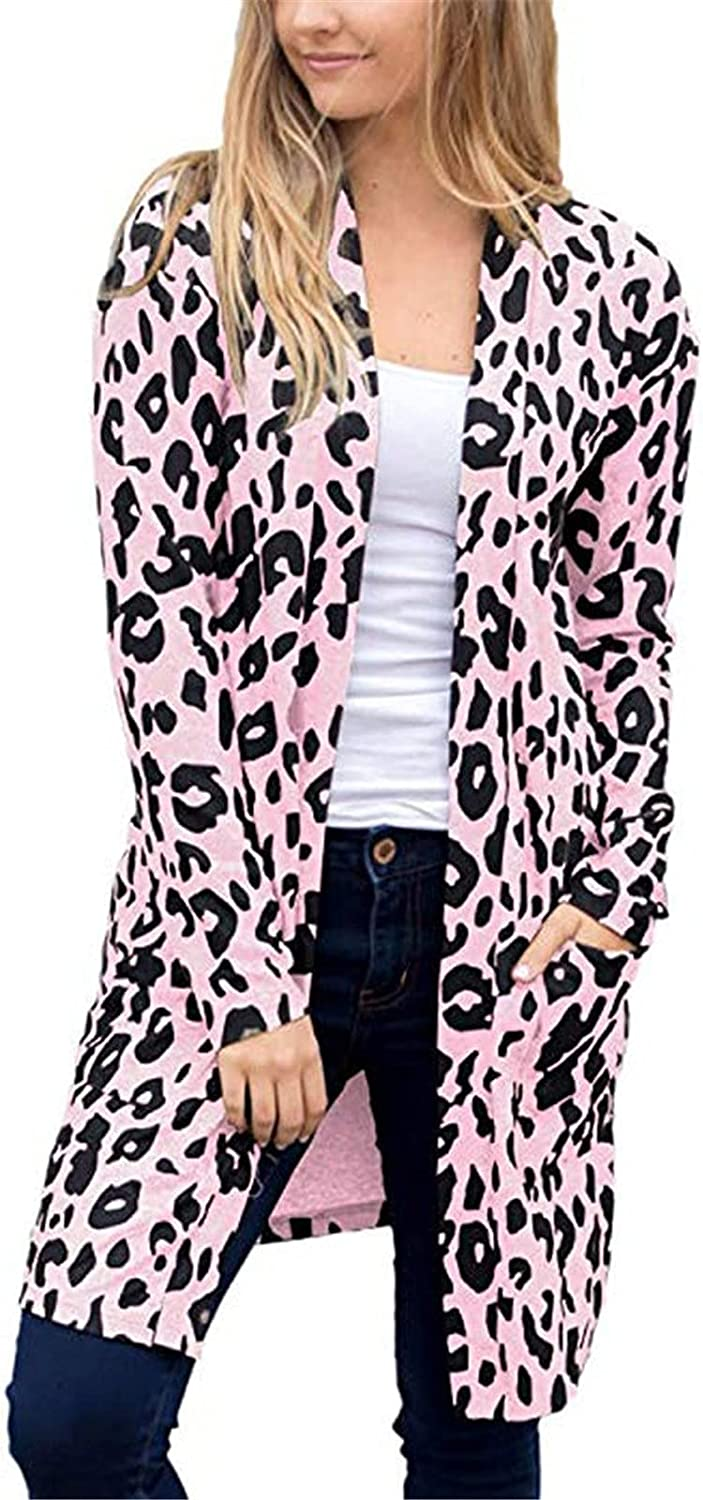 Ladies Long Sleeve Oversize Leopard Open Front Cardigans with Pockets Casual Loose Sexy Patchwork Outwear