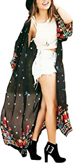 Women's Long Sheer Floral Kimono Cardigan, Chiffon Bikini Beach Cover up, Summer Blouse Loose Tops