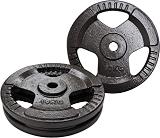 Weight Plates 20kg - Weight Plates Set 10KG x 2 - Standard 26.5mm - Triple Handle Cast Iron - Weight Training Exercise Wor...