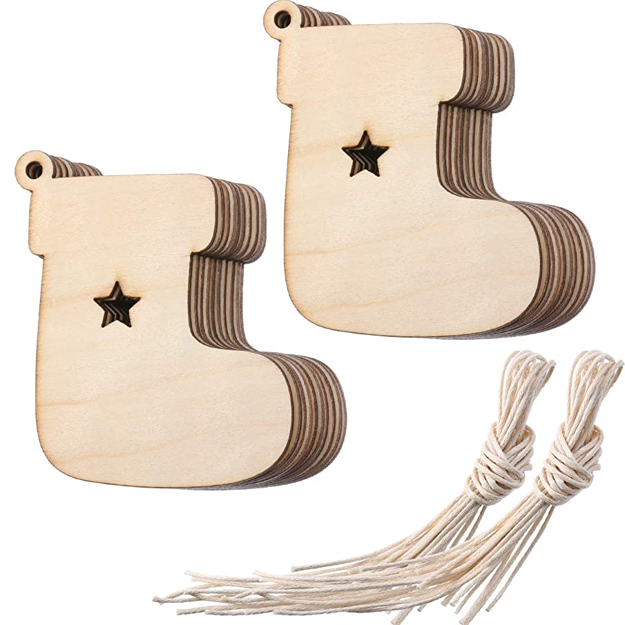 Tatuo Wooden Stocking Cutouts Christmas Ornaments Hanging Wood Decorations for Christmas Embellishments Craft, Pack of 20