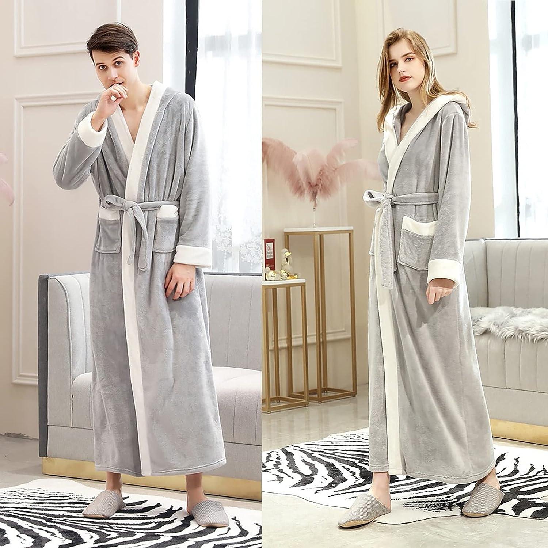 Mens Fleece Robe Lightweight Soft Warm Plush Collar Shawl Hooded Bathrobe Spa Bath Robe