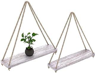 Ruiuzi - Juego de 2 estantes de madera flotantes con cuerda para colgar en la casa de campo para sala de estar, pared, pequeños estantes de cocina con cuerda