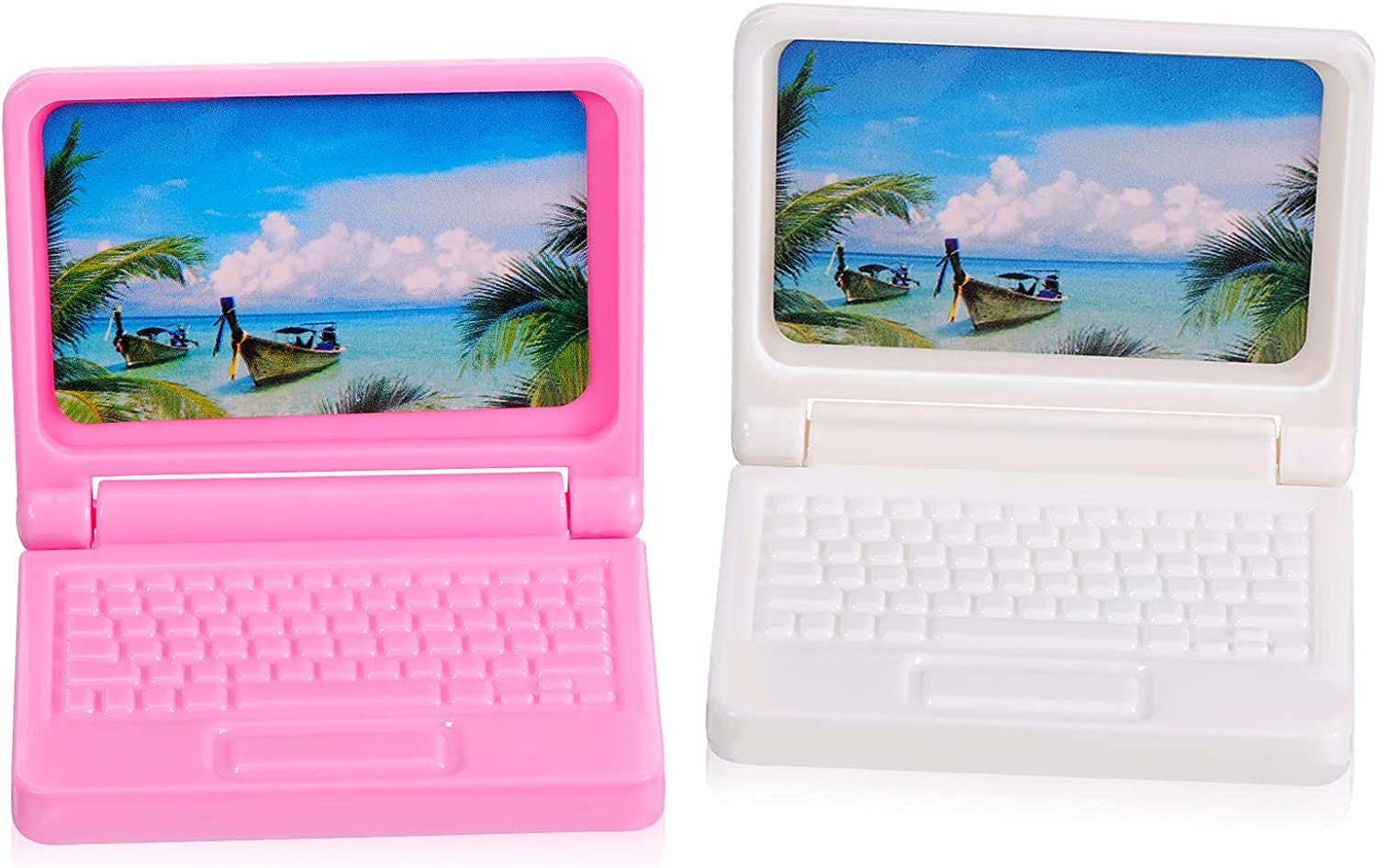 Chalyna 2 Pieces Dollhouse Laptop Toys Dollhouse Mini Laptops Scene Miniatures Computers Dollhouse Miniature Lovely Folding Laptop for Dolls House Accessories, Pink and White