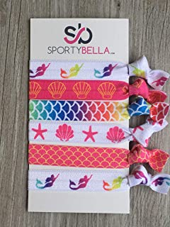 Infinity Collection Mermaid Hair Accessories, Multi Colored Hair Ties,No Crease Hair Elastics Set, for Girls