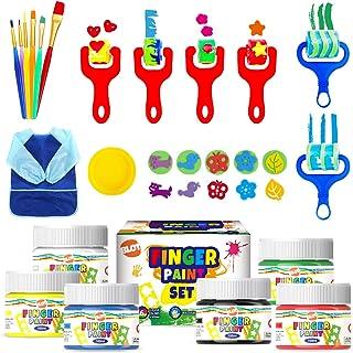 Peinture au Doigt Lavable Kit pour Enfants Peinture au Doigt avec Tablier Éponge Pinceaux de Peinture pour Maternelle Dess...