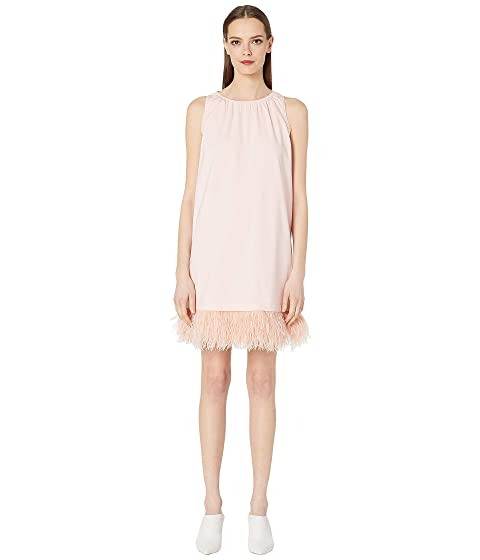 Sportmax Oliveto Jersey Dress w/ Removable Feathers
