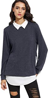 747c0234febbd ROMWE Sweat-Shirt Pull et Gilet Femme Manches Longues 2 en 1