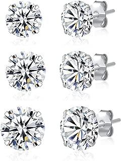 3 Pairs 925 Sterling Silver Cubic Zirconia Stud Earrings Set Men Women