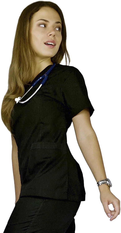 AMAZMEE Medical Scrubs Uniform Set for Women VNeck Wrap Top Straight Pant