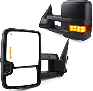 Towing Mirrors fit for Chevy for GMC 2007-2013 Silverado/Sierra Pair Rear View Mirrors Automotive Exterior Mirrors with Power Glass Heated Turn Signal Lights Backup Lamp Extendable Pair Set -Yellow