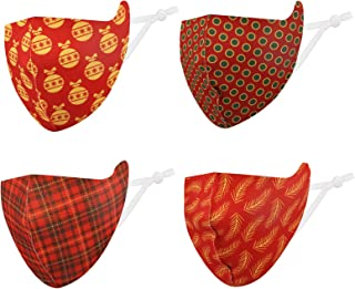 Christmas Face Bandanas, Kids Cloth Face Covering Washable, Reusable, Multi Pack, UV Protection for Outdoor Activities