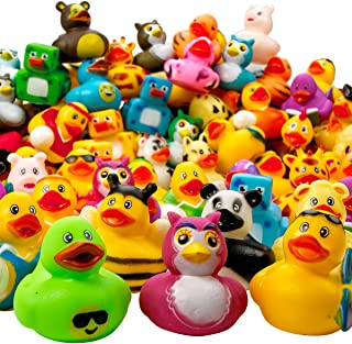 Kicko Assorted Rubber Duckies - 100 PC Bath Floater - Baby Showers Accessories - Bulk Ducks for Kids - Easter Party, Hallo...