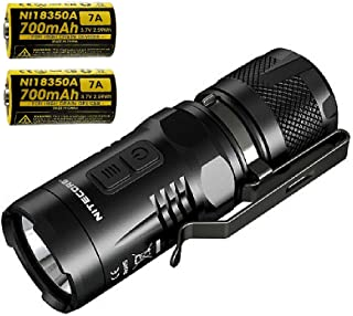 Nitecore CREE XML2 900 lm LED Flashlight Secondary Red with 18350 Battery, Black, Left/Right