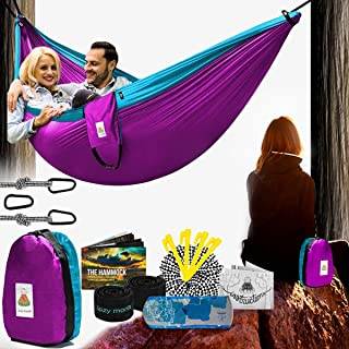 Camping Hammock | Portable Outdoor Folding Hamock for Travel & Backpacking | Double Two People 2 Person Hammock with Tree Straps | Hamaca para dos - Best Accessories Kit + Bandana