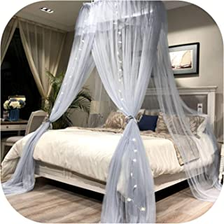 New Mosquito Net Nordic Style Lace Bed Canopy Round Hung Dome Mosquito Netting Curtain for Queen King Sized Bed,Grey,2.0M (6.6 Feet) Bed