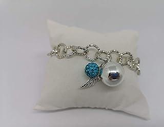 Bracciale chiama angeli con strass ball azzurro. Realizzato a mano in acciaio e alluminio anallergico e senza nichel. Idea...