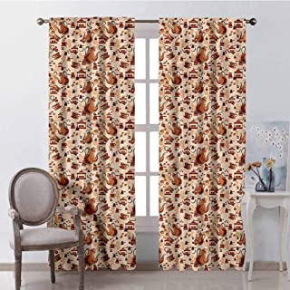 GUUVOR Coffee for Bedroom Blackout Curtains Grinders and Brewers Design Blackout Curtains for The Living Room W42 x L84 Inch