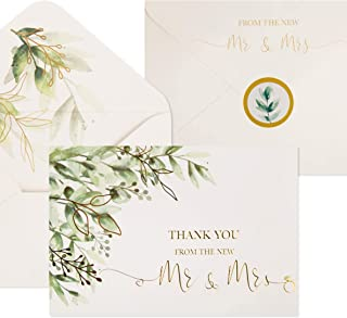 $24 » 100 Wedding Thank You Cards with Envelopes & Stickers | Bulk Mr and Mrs Thank You Notes Blank on the Inside | Greenery & G...